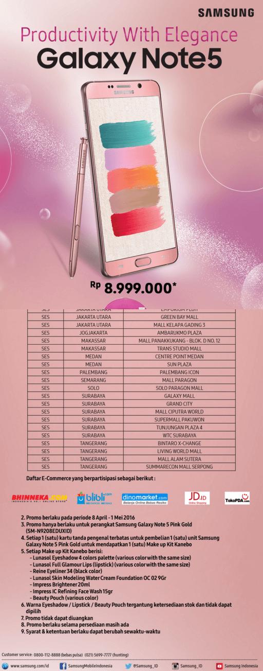 Galaxy Note5 Pink Gold Harga