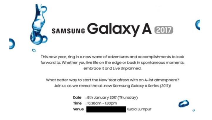 Samsung Galaxy A Series 2017 Waktu rilis