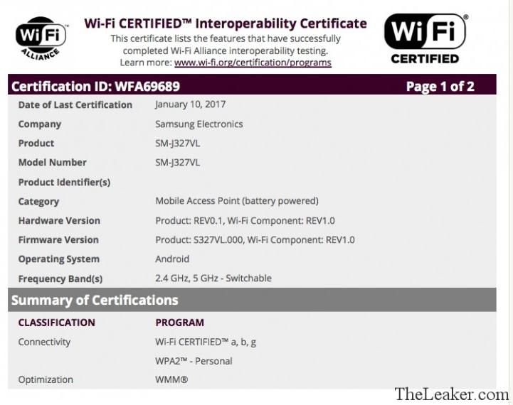 Sertifikasi Wifi Samsung Galaxy J3 2017