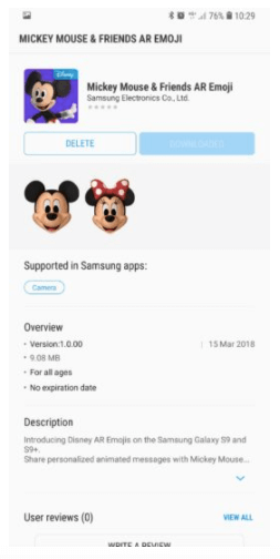 Cara Install AR Emoji Mickey Mouse dan Minnie Mouse di Samsung S9