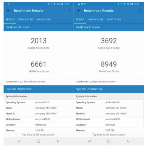 Hasil Uji Benchmark Galaxy S9+ dengan Galaxy S8+